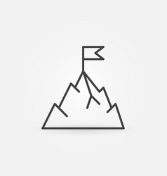 mountain with flag icon in thin line style vector image