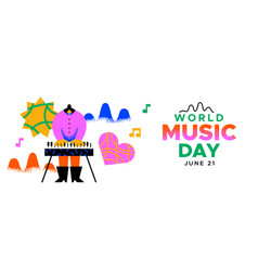music day banner trendy musical girl playing piano vector image