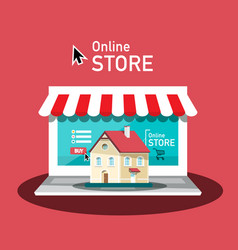 online store design with laptop computer and vector image