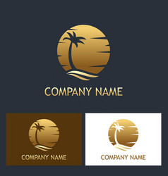 Palm tree sunset logo vector