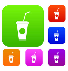 Paper cup with straw set collection vector