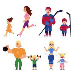 people parents and kids doing sport activities vector image