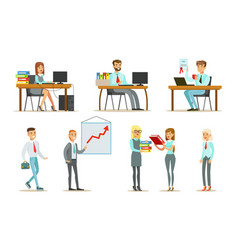 people working in office set male and female vector image