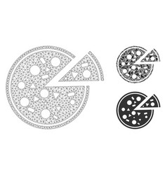 pizza mesh carcass model and triangle vector image
