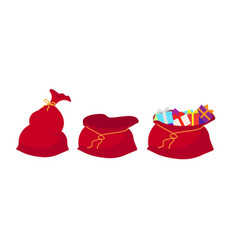 red bag santa claus set large sack holiday for vector image