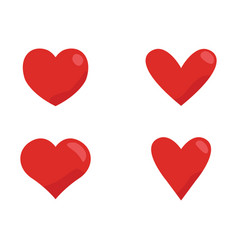 red heart icon set love symbol design vector image