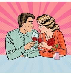 Romantic Couple with Glasses of Wine Pop Art vector