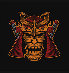 samurai head design vector image