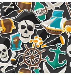 Seamless pattern on pirate theme with stickers and vector