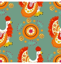 Seamless pattern with cock in Russian Dymkovo vector image