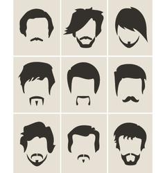 set hairmustachebeard silhouettes vector image