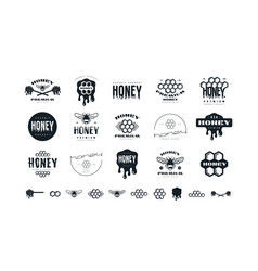 set honey labels badges and design elements vector image