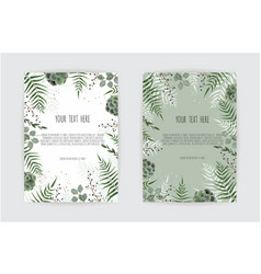 Set of card with green leaf eucalyptus branches vector
