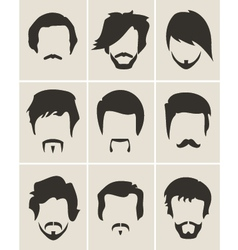Set of hairmustachebeard silhouettes vector image
