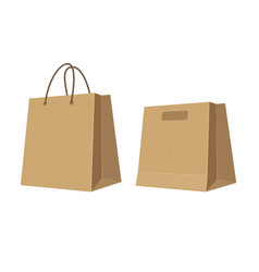 Set paper brown shopping bags flat color vector