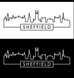 sheffield city skyline linear style editable vector image