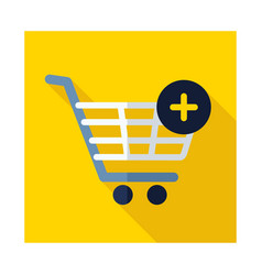 Shopping cart icon with plus sign vector