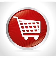 shopping cart red button design vector image