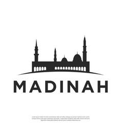 Silhouette logo city madina vector