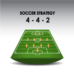 Soccer strategy plan 4-4-2 vector