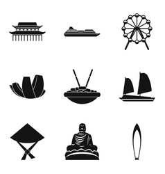 Study of buddhism icons set simple style vector