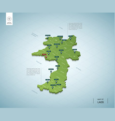 stylized map laos isometric 3d green map vector image