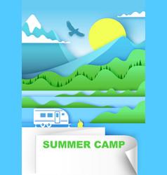 summer camp in paper art vector image
