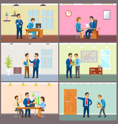Supervisor of company with novice boss in office vector