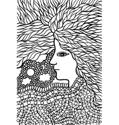 tribal woman portrait with hair - coloring page vector image
