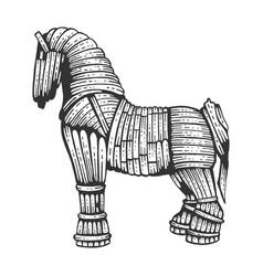 Trojan horse sketch engraving vector