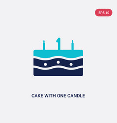 Two color cake with one candle icon from food vector