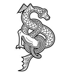 vintage dragon in scandinavian vector image