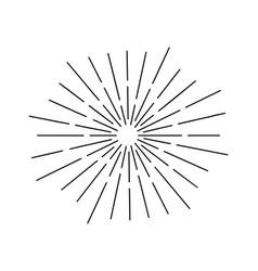 Vintage sauburst sunrays drawing element on white vector