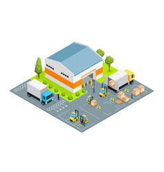 warehouse outside view isometric vector image