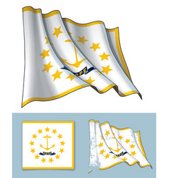 waving flag of the state of rhode island vector image