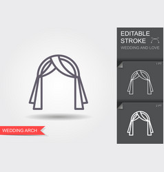 wedding arch line icon with shadow and editable vector image