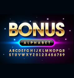 Welcome bonus casino banner design font alphabet vector