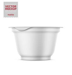 White yogurt pot with foil cover mockup vector