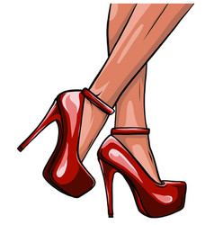 Woman legs in fashion shoes vector