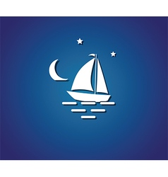 yacht night sea vector image