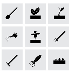 black farming icon set vector image vector image