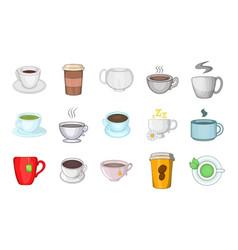 cup icon set cartoon style vector image