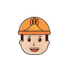 face man worker occupation with helmet protection vector image