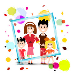 family in frame with colorful splashes isolated vector image vector image