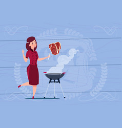 female chef cook grilling meat cartoon chief in vector image