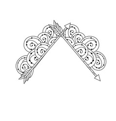 line cute arrows element with ornamental design vector image