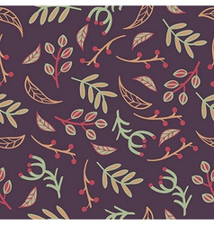 seamless pattern with leaves branches laurels vector image vector image
