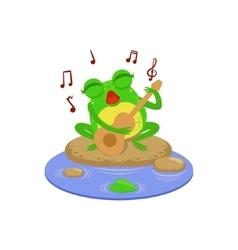 Cartoon Frog Character Playing Guitar vector image