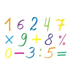 Colorful numerals and symbols vector image vector image