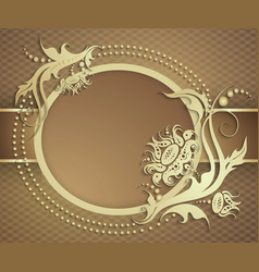 Elegant golden frame banner Luxury floral vector image
